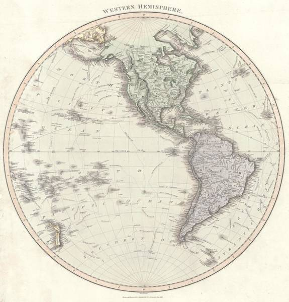 Atlantic Drawing - Antique Maps - Old Cartographic Maps - Antique Map Of The Western Hemisphere by Studio Grafiikka