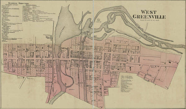 Old West Drawing - Antique Maps - Old Cartographic Maps - Antique Map Of West Greenville, Carolina by Studio Grafiikka