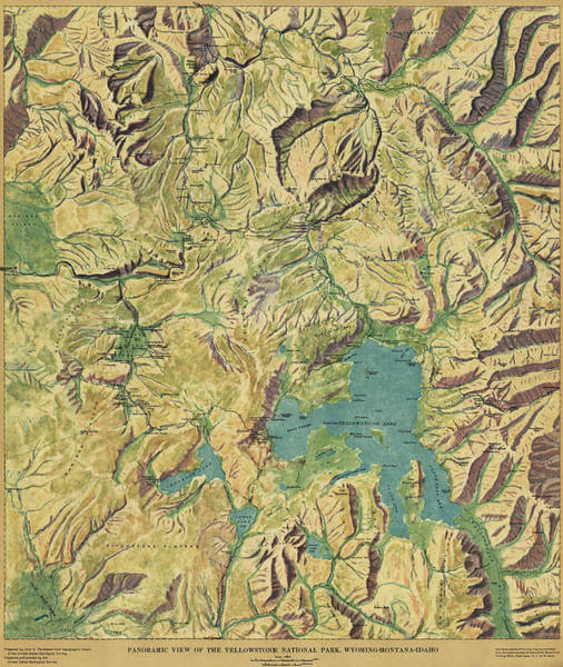 Montana Drawing - Antique Maps - Old Cartographic Maps - Antique Panoramic View Map Of The Yellowstone National Park by Studio Grafiikka