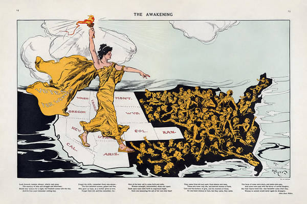 Alice Drawing - Antique Map Of The United States Of America - The Spirit Of Liberty - The Awakening, 1915 by Studio Grafiikka