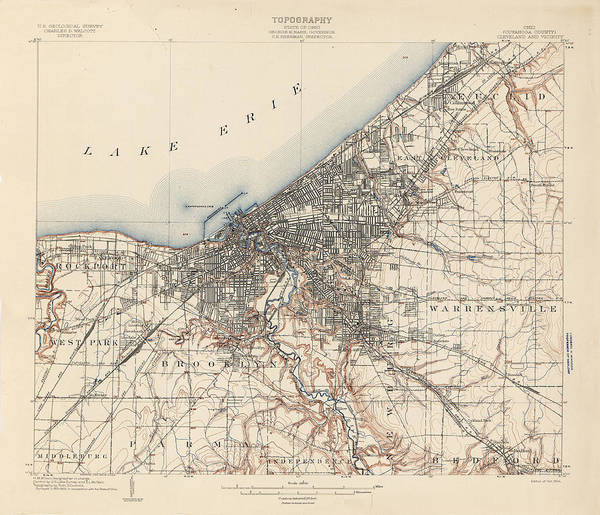 Wall Art - Drawing - Antique Maps - Old Cartographic Maps - Antique Topography Map Of The State Of Ohio, 1902 by Studio Grafiikka