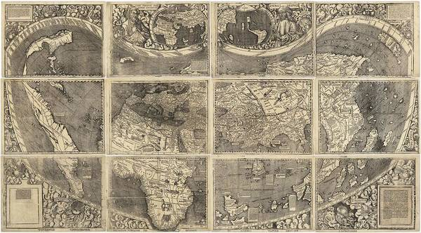 Illustrated Drawing - Antique Maps - Old Cartographic Maps - Illustrated Map Of The World by Studio Grafiikka