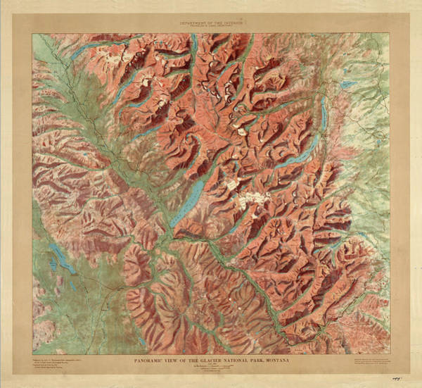 Reliefs Wall Art - Drawing - Antique Maps - Old Cartographic Maps - Relief Map Of Glacier National Park, Montana by Studio Grafiikka