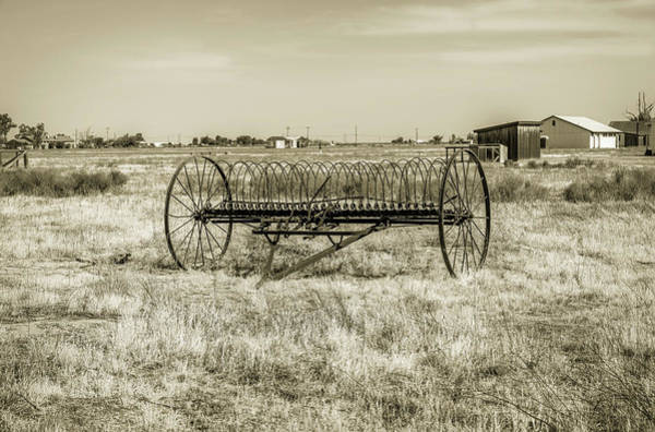 Photograph - Antique Mccormick Hay Rake - Black And White by Gene Parks
