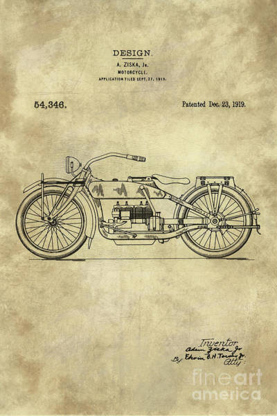 Antique Motorcycle Blueprint Patent Drawing Plan From 1919, Industrial Farmhouse Art Print