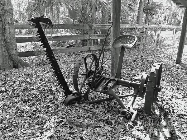 Photograph - Antique Mower B W by D Hackett