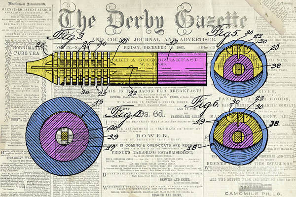 Wall Art - Digital Art - Antique Pen, Colorful Patent Drawing, Yellow And Magenta, On Newspaper by Drawspots Illustrations