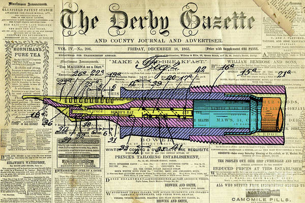 Wall Art - Digital Art - Antique Pen, Colorful Patent Drawing, Yellow Magenta Blue And Cyan by Drawspots Illustrations