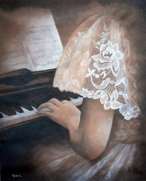 Impressionistic Landscape Drawing - Antique Piano by Rachel Lawson