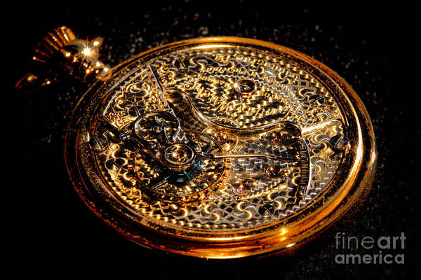 Photograph - Antique Pocket Watch Open Case by Olivier Le Queinec