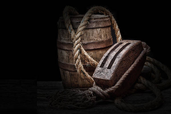 Block Photograph - Antique Pulley And Barrel by Tom Mc Nemar