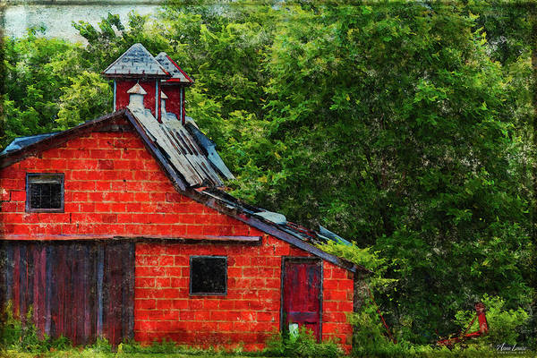 Photograph - Antique Red Brick Barn by Anna Louise