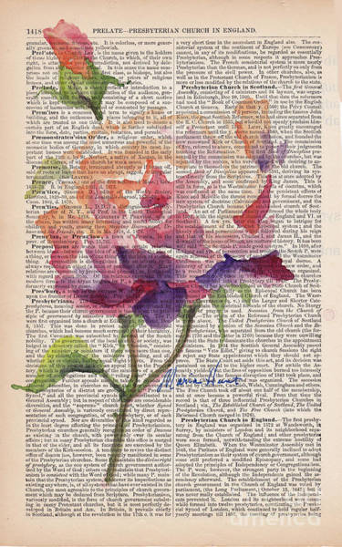 Single Rose Painting - Antique Rose On Antique Paper by Maria Hunt