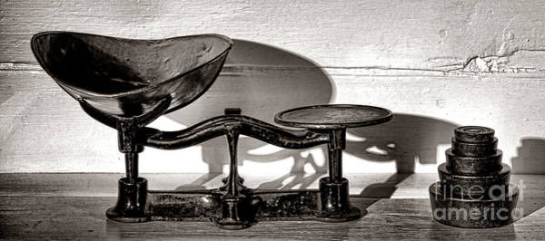 Wall Art - Photograph - Antique Scale And Weights by Olivier Le Queinec
