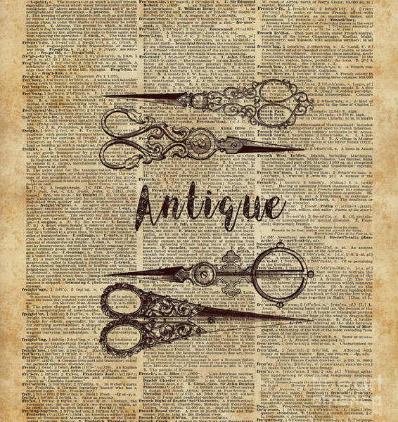 Wall Art - Digital Art - Antique Scissors Old Book Page Design by Anna W