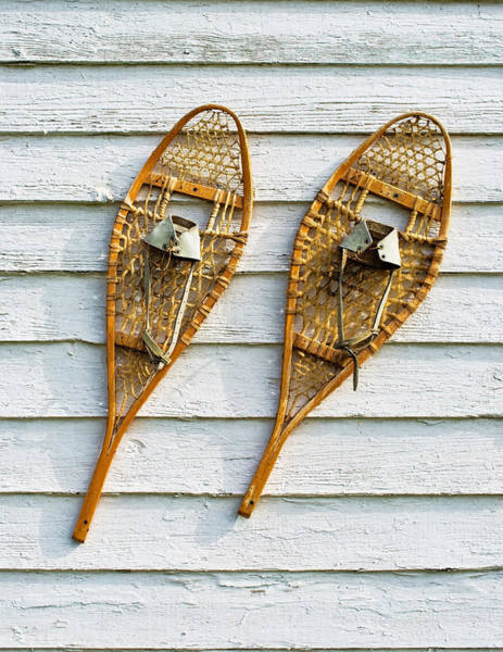Photograph - Antique Snowshoes On The Wall by Gary Slawsky