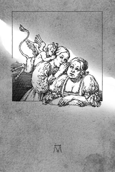 Drawing - Antique Souvenir - Gossip by Attila Meszlenyi