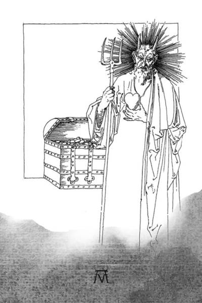 Drawing - Antique Souvenir - The Heart Of Satan by Attila Meszlenyi