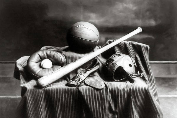 Photograph - Antique Sports Equipment - American Athletics by Mark Tisdale
