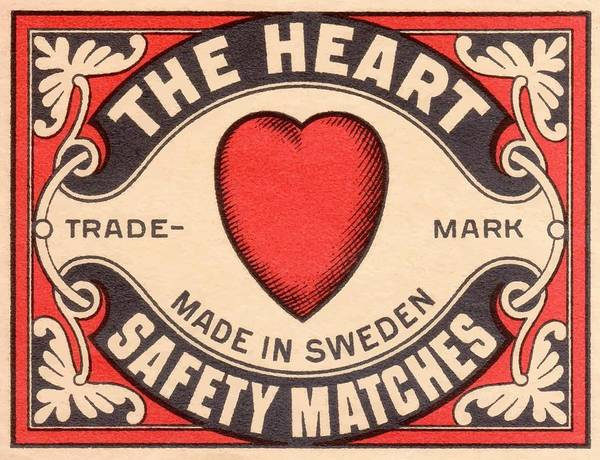 Matchbox Wall Art - Digital Art - Antique Swedish Matchbox Label The Heart by Retro Graphics