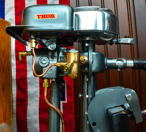 Outboard Engine Photograph - Antique Thor Boat Motor by David Lee Thompson