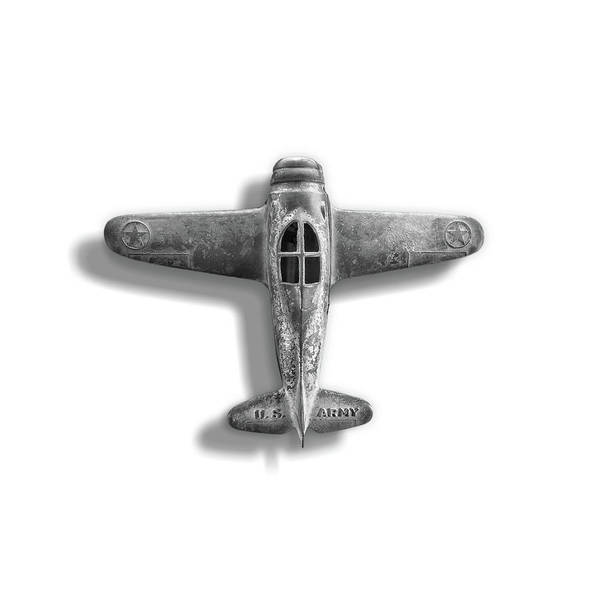 Wall Art - Photograph - Antique Toy Airplane Floating On White In Black And White by YoPedro