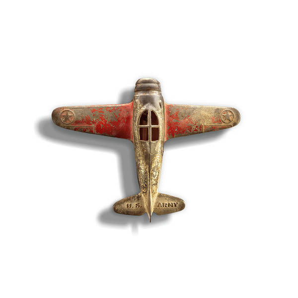 Wall Art - Photograph - Antique Toy Airplane Floating On White by YoPedro