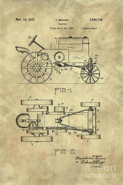 Old Tractor Drawing - Antique Tractor Blueprint Patent Drawing Plan From 1929, Industrial Farmhouse by Tina Lavoie