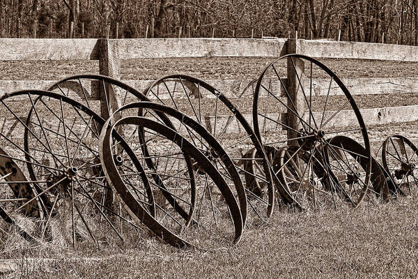 Tire Photograph - Antique Wagon Wheels I by Tom Mc Nemar