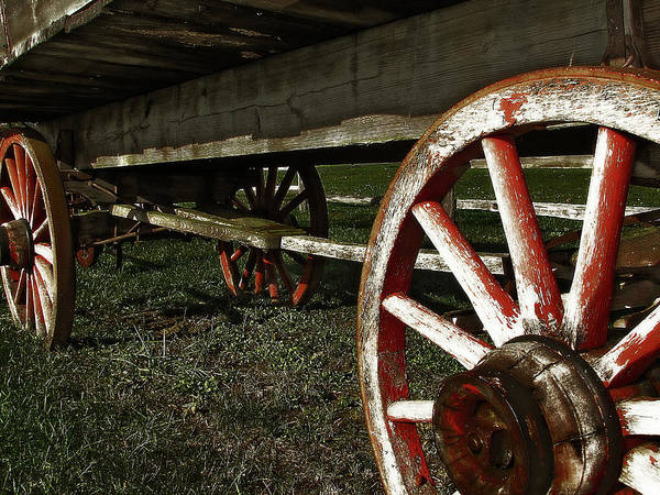Photograph - Antique Wagon Wheels by Scott Hovind