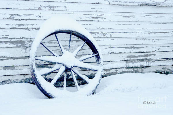 Photograph - Antique Wheel In The Snow by E B Schmidt