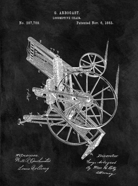Drawing - Antique Wheelchair Patent by Dan Sproul