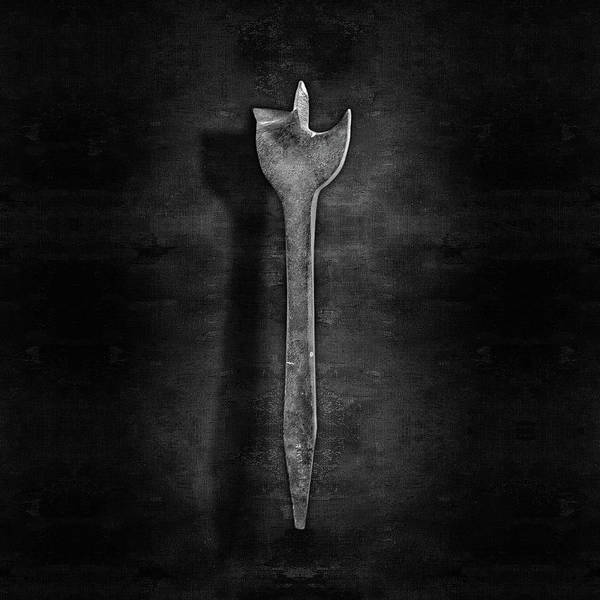 Bore Hole Wall Art - Photograph - Antique Wood Boring Bit In Black And White by YoPedro