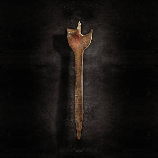 Wall Art - Photograph - Antique Wood Boring Bit On Black by YoPedro