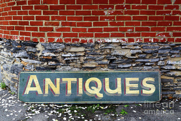 Photograph - Antiques Sign by James Brunker