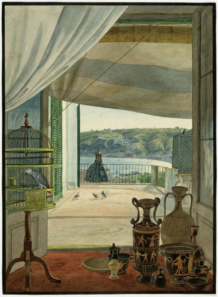 Painting - Antiquities By A Balcony Overlooking The Gulf Of Naples by Carl Wilhelm Gotzloff
