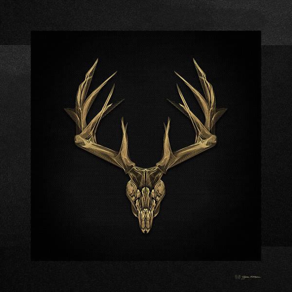 Digital Art - Antlered Skulls - Gold Deer Skull X-ray Over Black Canvas No.1 by Serge Averbukh
