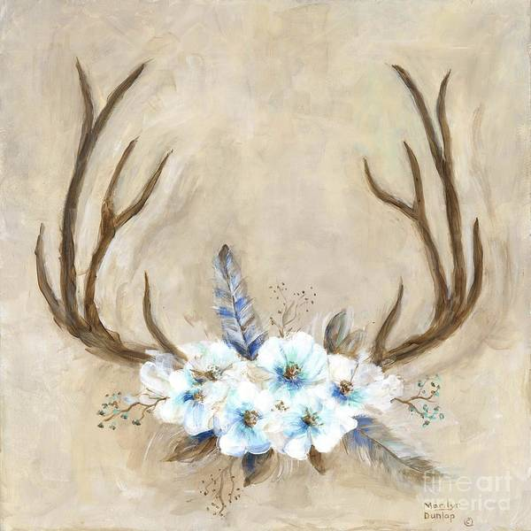 Antlers Painting - Antlers And Flowers by Marilyn Dunlap