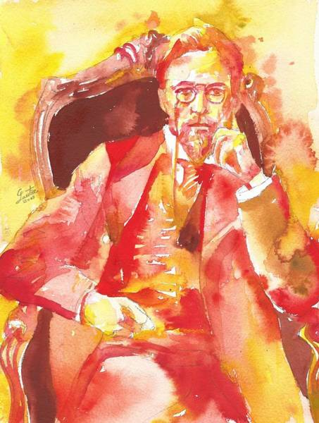 Wall Art - Painting - Anton Chekhov - Watercolor Portrait.6 by Fabrizio Cassetta