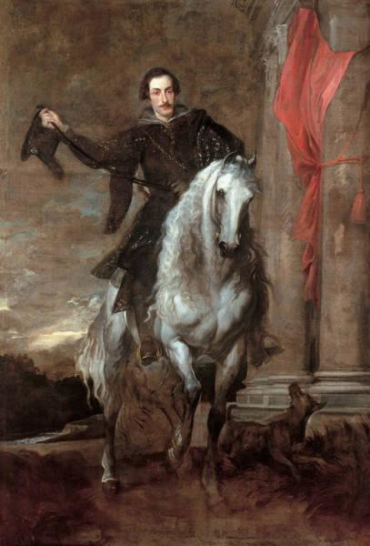 Giulio Painting - Anton Giulio Brignole-sale On Horseback by Anthony van Dyck