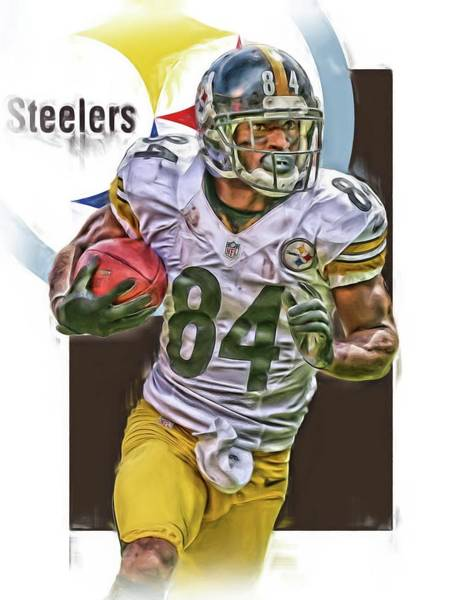 Super Bowl Mixed Media - Antonio Brown Pittsburgh Steelers Oil Art 4  by Joe Hamilton