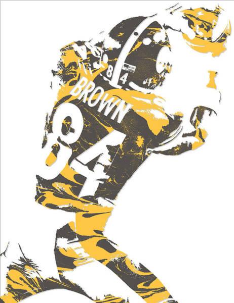 Wall Art - Mixed Media - Antonio Brown Pittsburgh Steelers Pixel Art 16 by Joe Hamilton