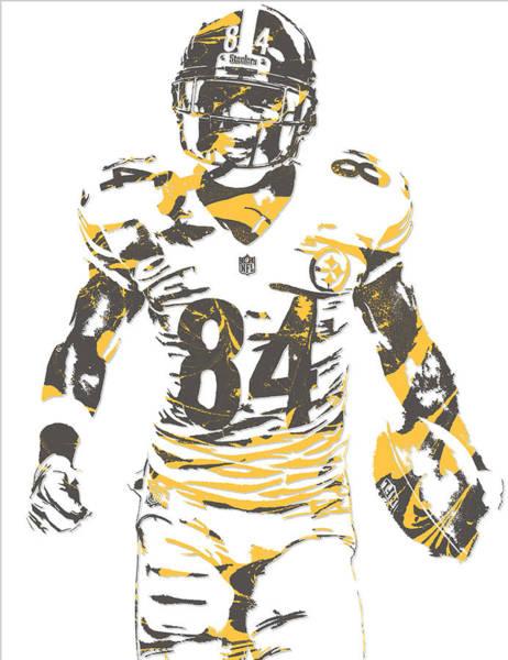 Wall Art - Mixed Media - Antonio Brown Pittsburgh Steelers Pixel Art 17 by Joe Hamilton