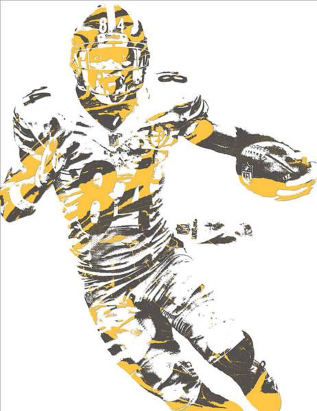 Wall Art - Mixed Media - Antonio Brown Pittsburgh Steelers Pixel Art 21 by Joe Hamilton