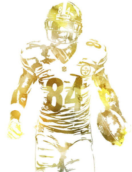 Wall Art - Mixed Media - Antonio Brown Pittsburgh Steelers Water Color Pixel Art 1 by Joe Hamilton