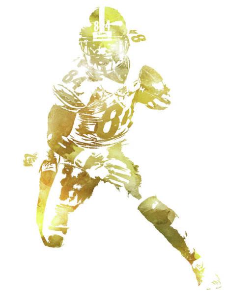 Wall Art - Mixed Media - Antonio Brown Pittsburgh Steelers Water Color Pixel Art 10 by Joe Hamilton