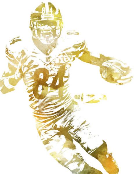 Wall Art - Mixed Media - Antonio Brown Pittsburgh Steelers Water Color Pixel Art 11 by Joe Hamilton