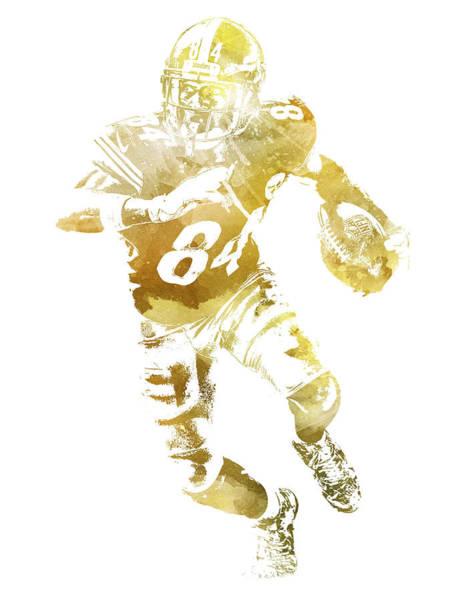 Wall Art - Mixed Media - Antonio Brown Pittsburgh Steelers Water Color Pixel Art 12 by Joe Hamilton