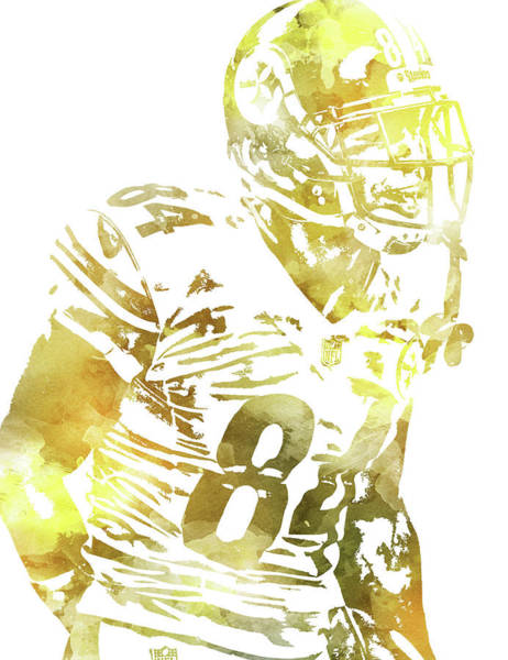 Wall Art - Mixed Media - Antonio Brown Pittsburgh Steelers Water Color Pixel Art 3 by Joe Hamilton