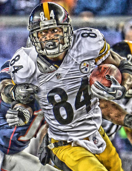 Game Painting - Antonio Brown Steelers Art by Joe Hamilton